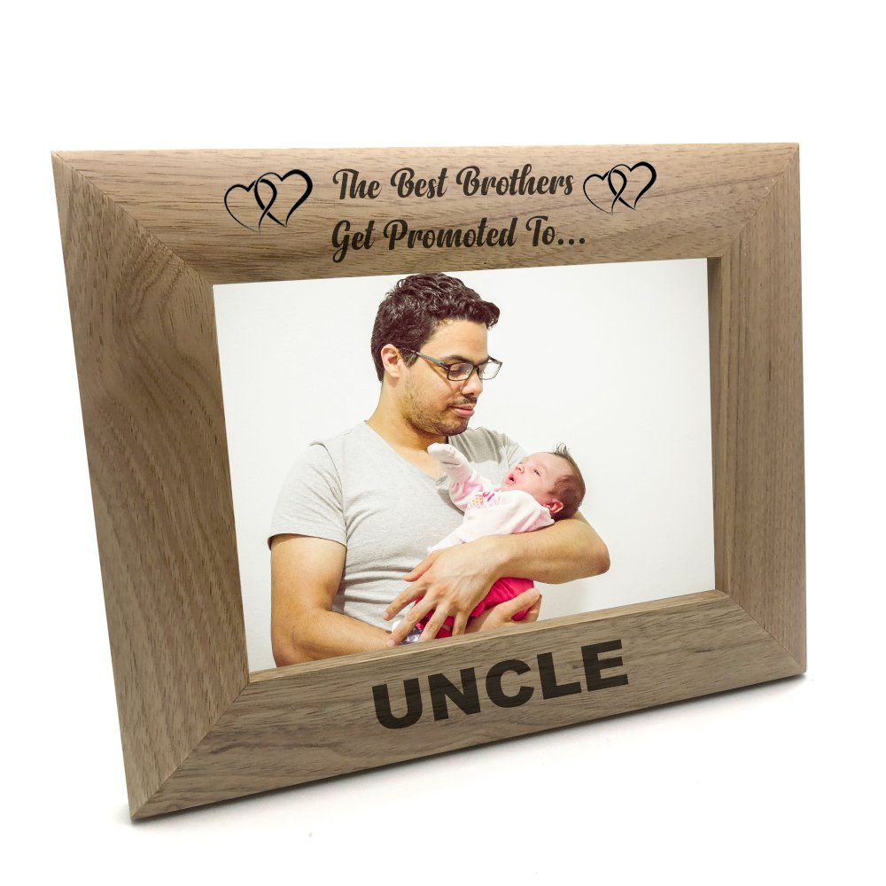 ukgiftstoreonline Best Brothers Promoted To Uncle Wooden Photo Frame Gift (4 x 6 Inch)