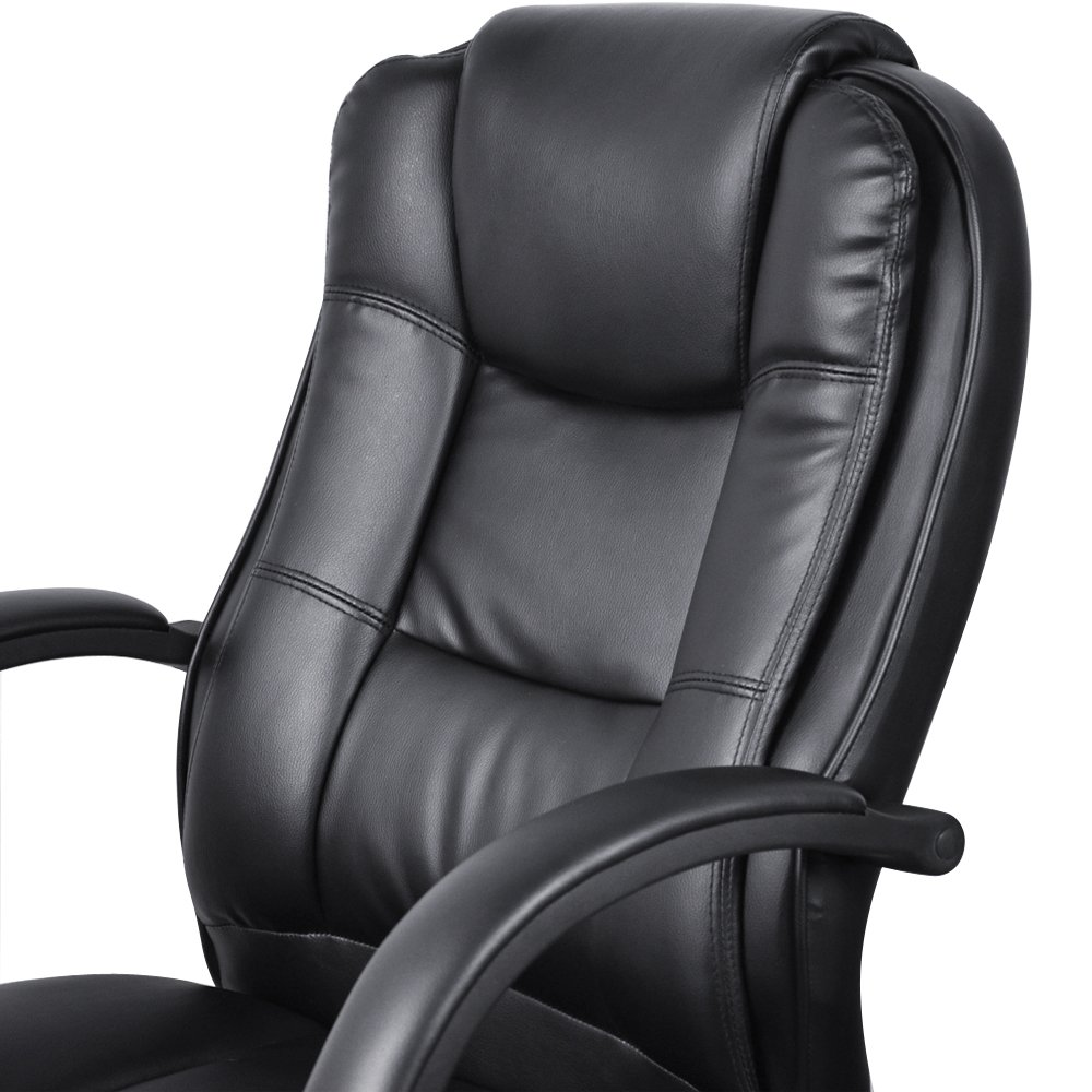 Delightful Executive High Back PU Leather Black Color Office Chair 19 Black:  Amazon.co.uk: Office Products