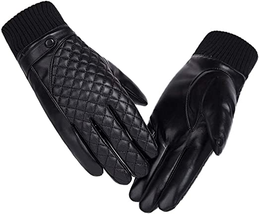Leather Gloves Mens Winter Riding Cold Warm Thickening Plus Velvet Touch Screen Outdoor Cotton Gloves Protect your hands