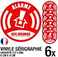 Lot de 6 autocollants / stickers Alarme sécurité / 6 cm