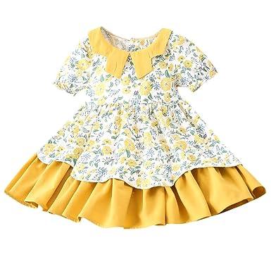8f99ba9c1141e Robe De Fille ADESHOP Mode Enfant BéBé Filles ÉTé Manche Courte Floral  Imprimé Couleur Unie ÉPissure