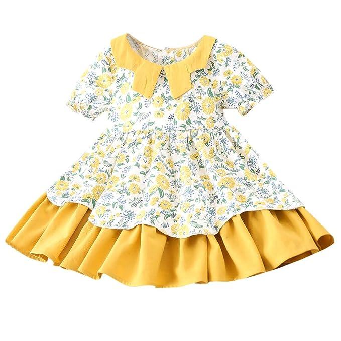 Mitlfuny Primavera Verano Niños Chica Vestido de Manga Corta Floral Estampado Cosiendo Vestidos de Princesa Collar