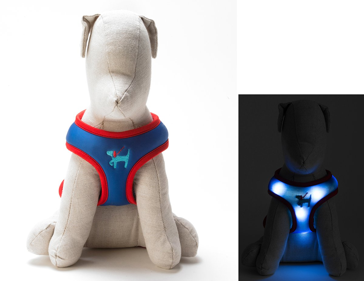 Light Up LED Dog Comfort Harness - Patented Light Up Glowing Harness for Puppies and Dogs of all Kinds for Training and Outdoor Fun - by Dog E Glow