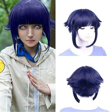 Narutos Shippuden Hinata Hyuga morado azul de pelo corto (tamaño mediano pelucas cosplay