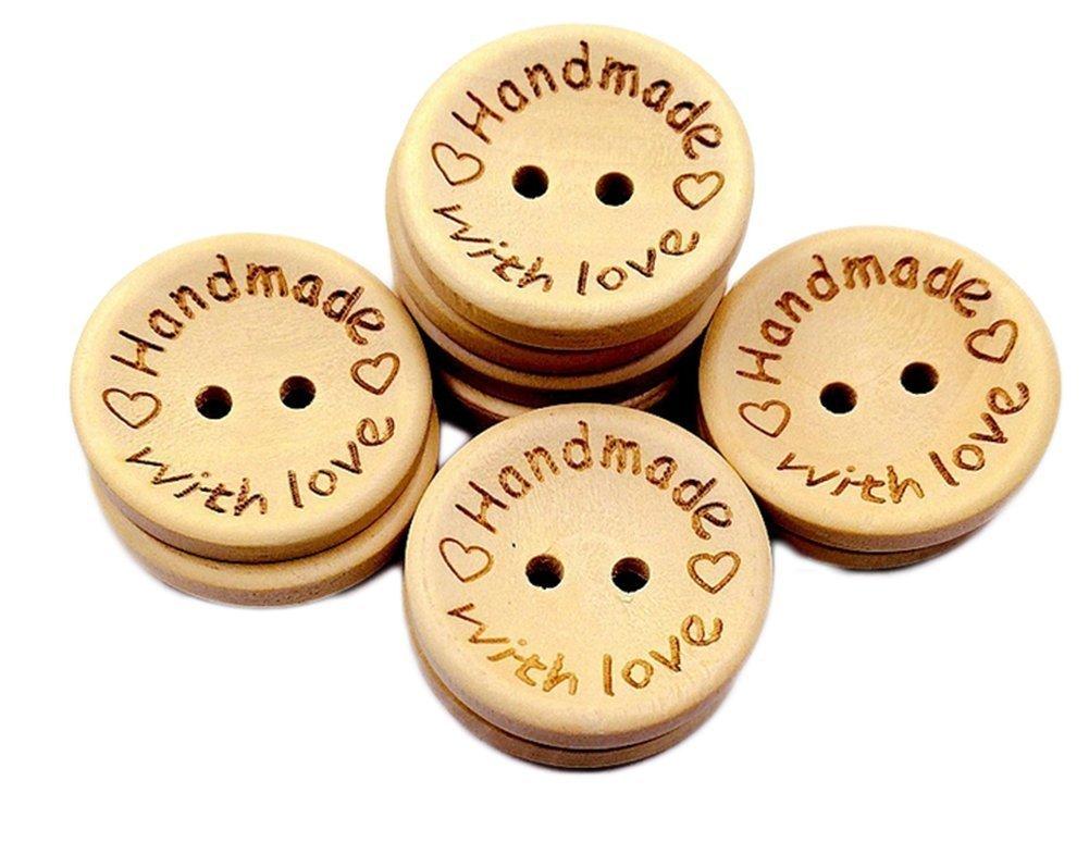 10 X 15mm Handmade Wooden Shirt Buttons Sewing Natural Wood Scrapbook UK SELLER
