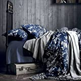 Eastern Floral Chinoiserie Blossom Print Duvet Quilt Cover Navy Blue Tan White Asian Style Botanical Tree Branches Ornamental Drawing 400TC Egyptian Cotton Bedding Set (Twin, Navy)