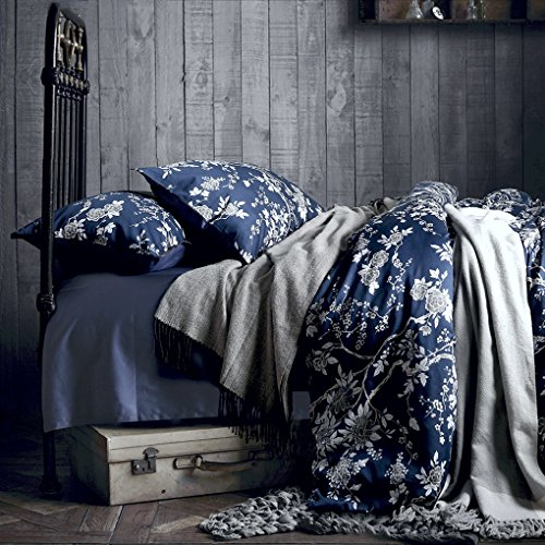 Eastern Floral Chinoiserie Blossom Print Duvet Quilt Cover Navy Blue Tan White Asian Style Botanical Tree Branches Ornamental Drawing 400TC Egyptian Cotton 3pc Bedding Set (King) - Asian Inspired Comforter Sets