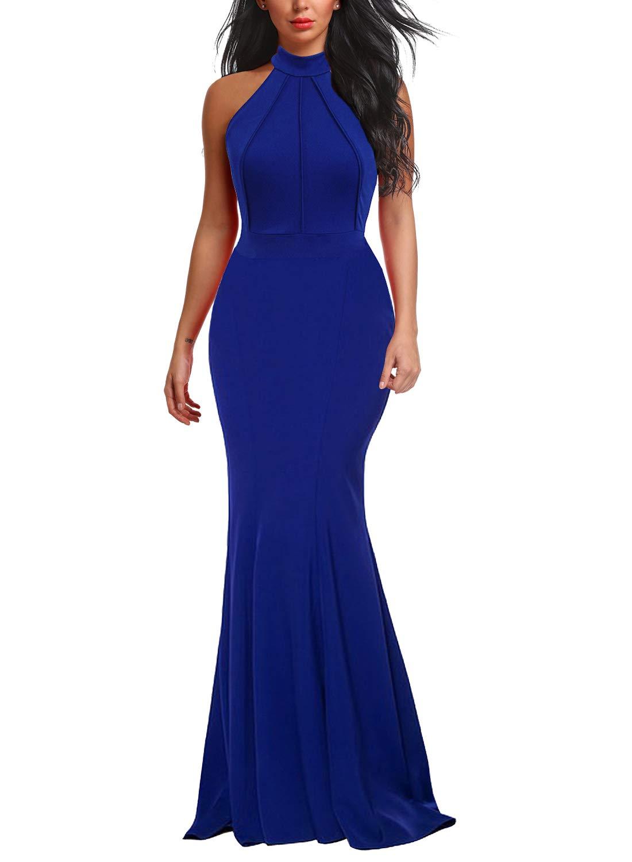 Berydress Women's Mermaid Dress Halter Maxi Long Prom Evening Formal Dresses (M, 6075-Royal Blue) by Berydress