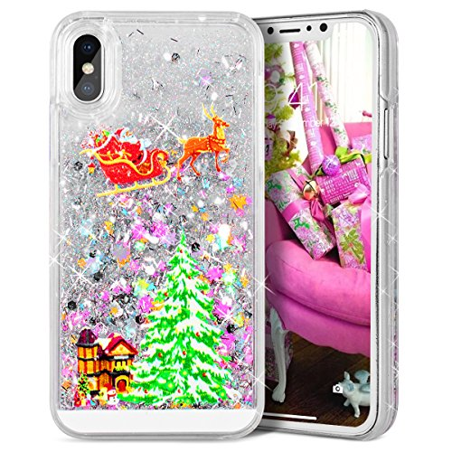 iPhone X Case, iPhone Xs Case, CinoCase 3D Creative Liquid Case [Christmas Collection] Quicksand Moving Stars Bling Glitter Snowflake Christmas Tree Santa Claus Hard Case for iPhone X/XS (Clear)