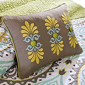 Madison Park Samara King Size Quilt Bedding Set - Teal Yellow, Medallion – 6 Piece Bedding Quilt Coverlets – 100% Cotton Bed Quilts Quilted Coverlet