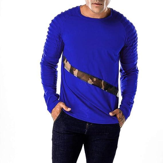 JiaMeng Casual Patchwork de Malla Camiseta de Manga Larga Delgada Pollover Top Blusa Hombre otoño Invierno: Amazon.es: Ropa y accesorios