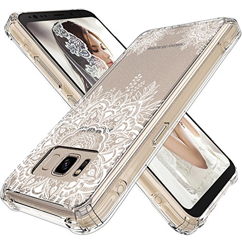 LK Case for Galaxy S8 Active, [Shock Absorbing] White Henna Mandala Floral Lace Clear Design Printed Air Hybrid with TPU Bumper Protective Case Cover for Samsung Galaxy S8 Active