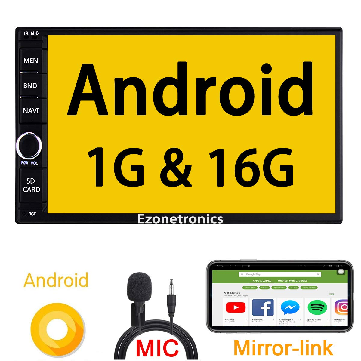 Double Din Android Car Stereo -7 inch Touch Screen inDash Car Radio Video Multimedia Player with Bluetooth WiFi GPS Navigation System Ezonetronics Rhythm Electronics Limited