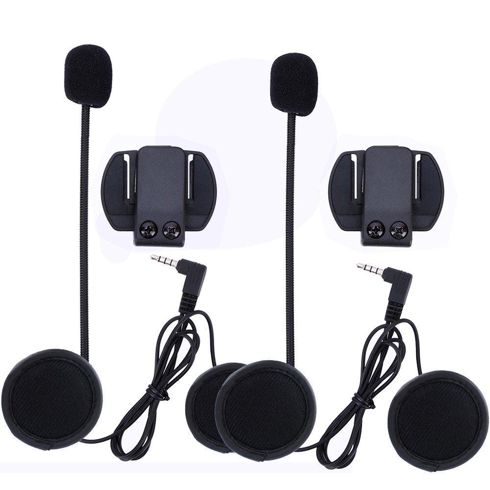 Amazingbuy - Vnetphone V6 V4 Accessories Microphone Speaker and Clip Bracket,Only Fit Vnetphone V6 V4 Helmet Intercom Motorcycle Bluetooth Device 3.5mm Jack Plug (2Pcs)
