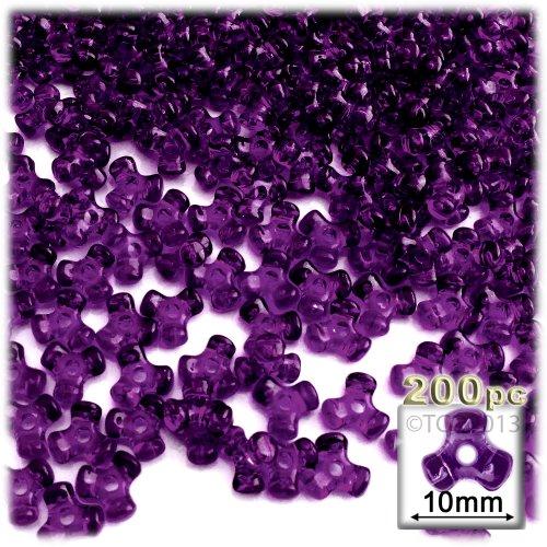 The Crafts Outlet 1000-Piece Plastic Transparent Tri Beads, 10mm, Dark Purple
