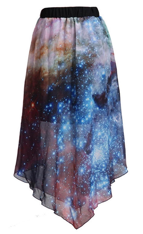 Aivtalk Damen Rock Chiffon Blumenmuster Rüsche Sommerkleid Frauen Unregelmäßige Digital Printed Polyester Sommer Röcke Freie Größe - Stil Wählbar