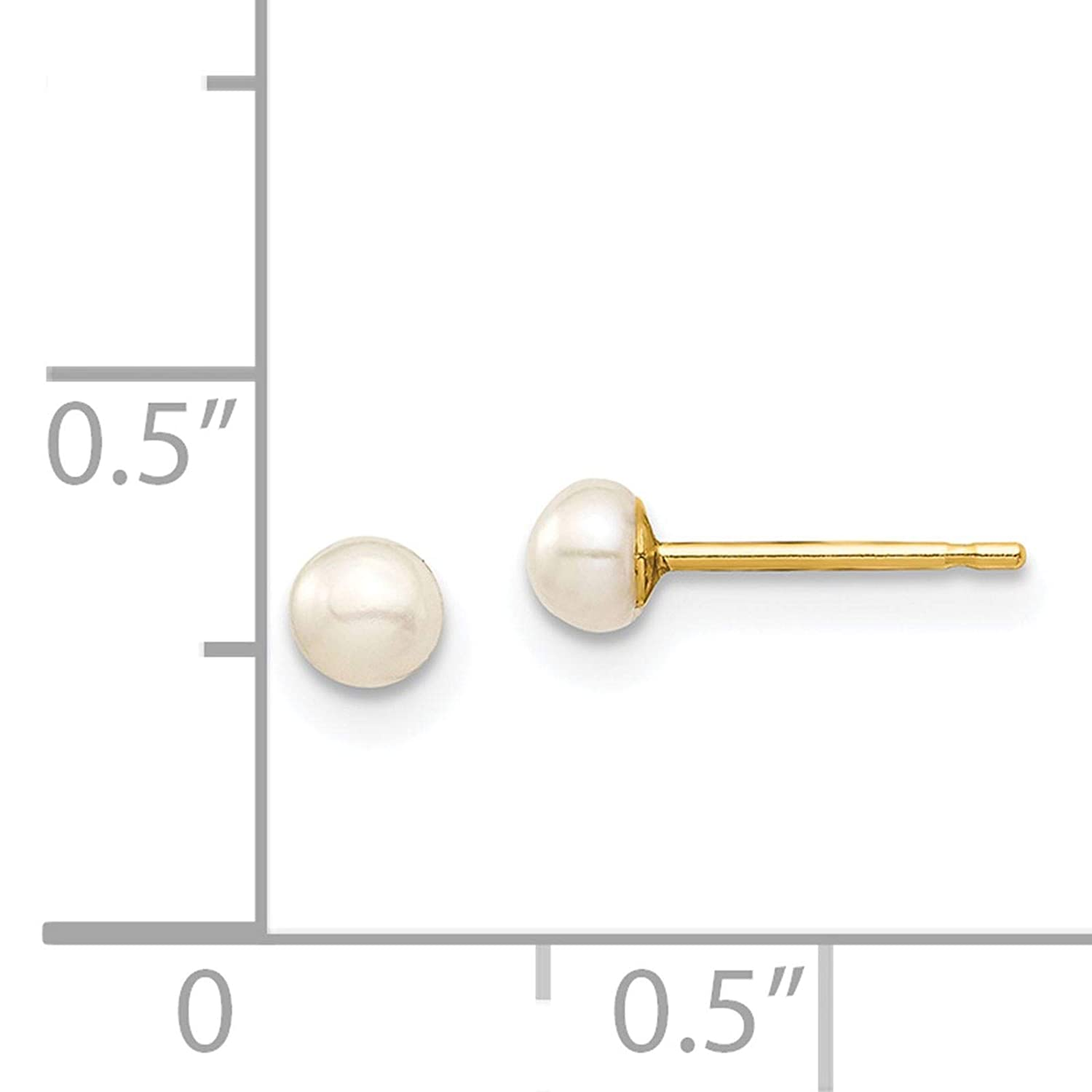 14k Yellow Gold Polished 3-4mm White Button Freshwater Cultured Pearl Stud Post Earrings by Madi K