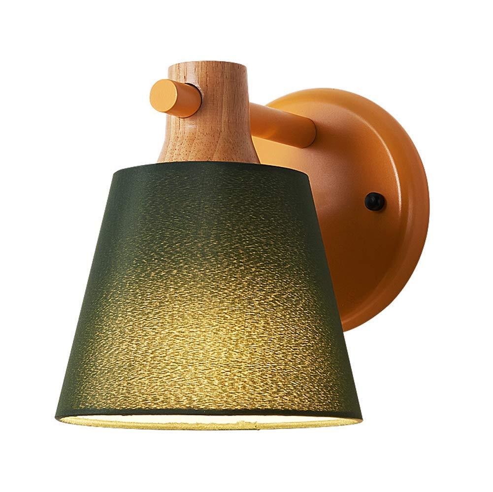 Wandleuchte Nachtlampe Indoor-Beleuchtung Modernen Einfachen Kreativen Nordischen Stil DunkelGrößen Stoff Schatten Holz Schmiedeeisen Macaron MultiFarbe Wandlampe Für Wohnzimmer Schlafzimmer Bad Korridor