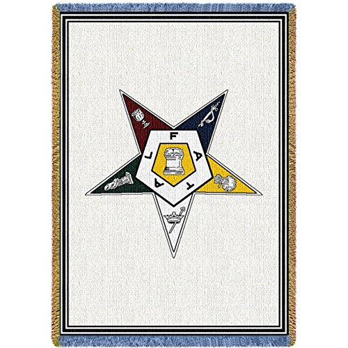 Pure Country Weavers - Order of The Eastern Star Masonic Woven Throw Blanket with Fringe USA Made Size 69 x 48 100% Cotton Woven to Last a Lifetime