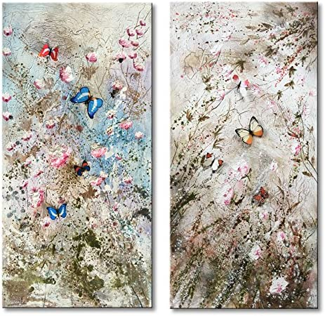 Everfun Hand Painted Abstract Modern Oil Painting on Canvas Wall Art Large 2 Panels Butterfly Texture Floral Blossom Colorful Pictures Home Decorations with Frame Ready to Hang
