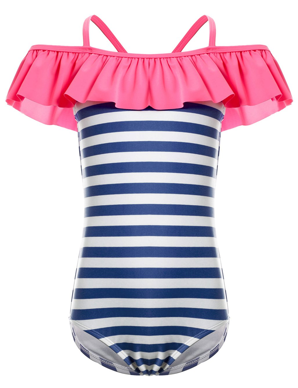 LEINASEN Kids Ruffles Off Shoulder Stripe One Piece Bathing Suit for Girls