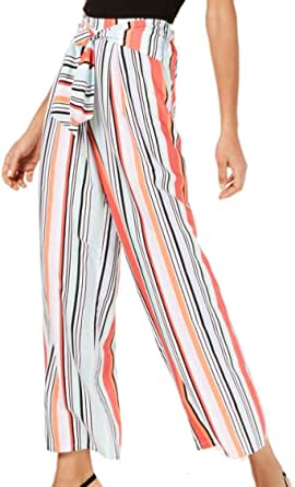 Bar III Womens Striped High Rise Wide Leg Pants