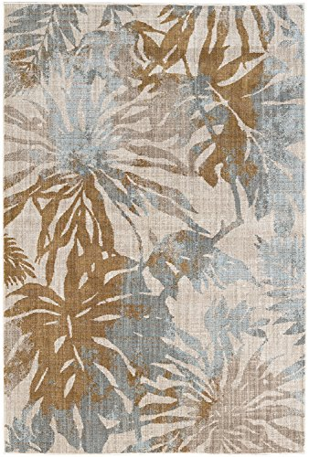 Mohawk Destinations Destin Oyster Tropical Floral Woven Area Rug, 5'3x7'10, Tan
