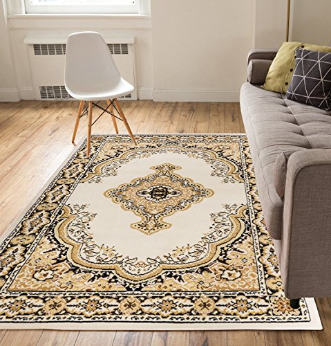 Antique Medallion Ivory Traditional Persian Oriental Floral Border Tribal 5 x 7 (5' x 7') Area Rug Low Thin Pile Great Value Easy to Clean Stain & Fade Resistant - Persian Home Decor