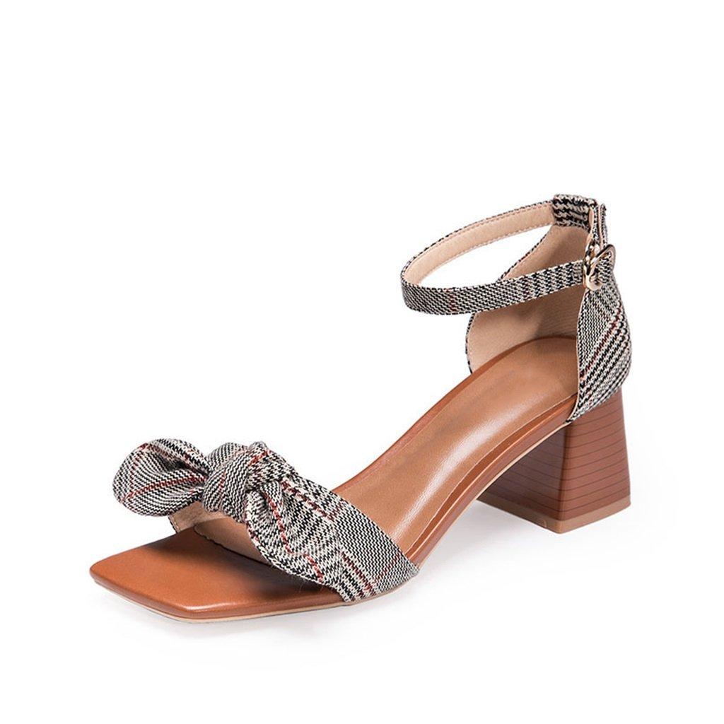 JIANXIN Frauen Frühling und Sommer Retro Sandalen High Heels mit Einem Wort Gurt Fairy Schuhe. (Farbe   braun größe   EU 38 US 7 UK 5 JP 24.5cm)
