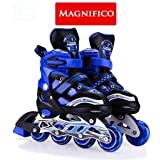 MAGNIFICO® Adjustable 4 Wheels Inline Roller Skates Size Medium Adjustable Inline Skates for Kids(Multi Colour)