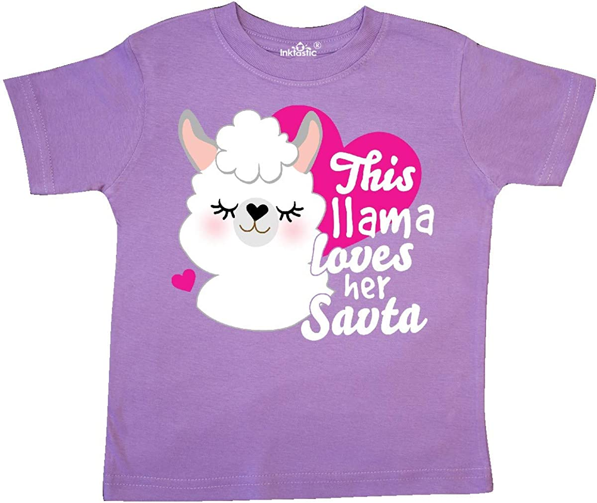 inktastic Valentines Day This Llama Loves Her SAVTA Toddler T-Shirt