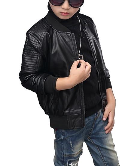8ce6357b4f LaoZan Giacca Giubbino PU Pelle Bambino Ragazzo Slim Cappotto Inverno  Spesso Giacche Bomber Cerniera