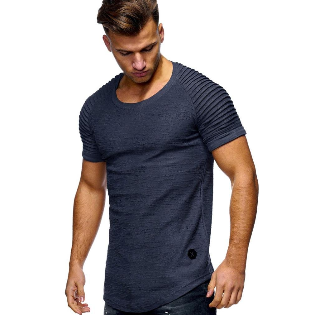 Sumen Men's Solid O Neck T- Shirt Screw Short Sleeve Slim Fit Muscle Shirts