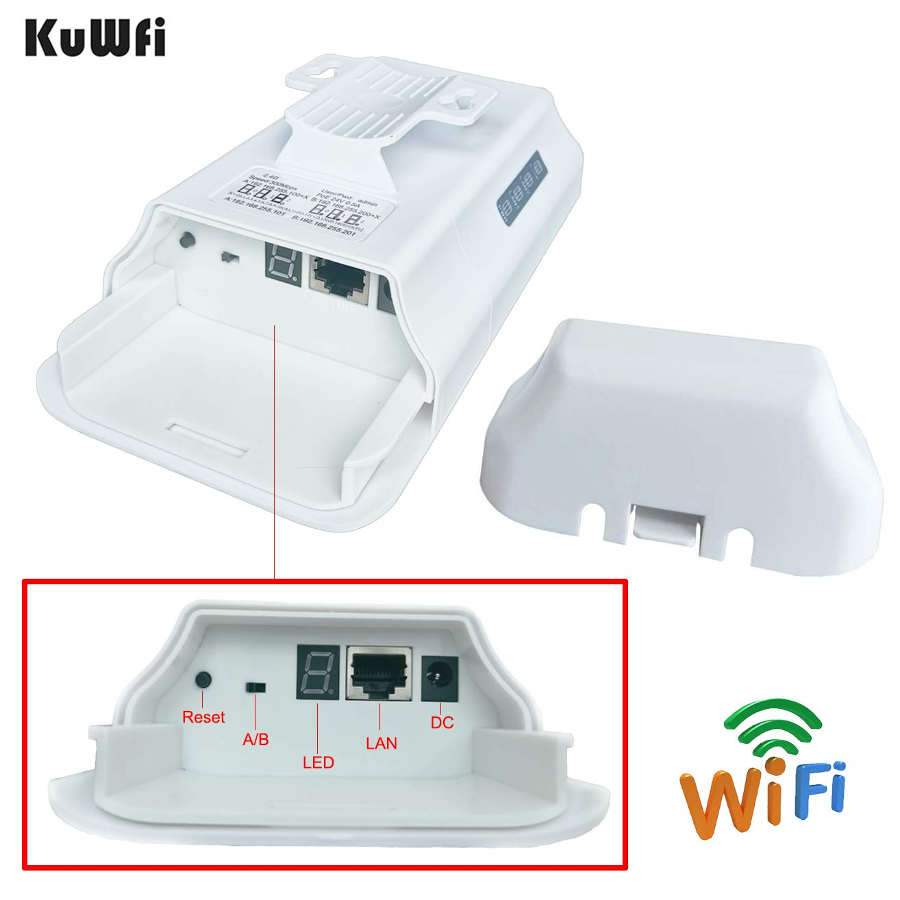 KuWFi 2-Pack 300Mbps Wireless Bridge CPE Kit,Indoor&Outdoor Point-to-Point  Bridge/CPE Supports 2KM Transmission Distance Solution for PTP, PTMP