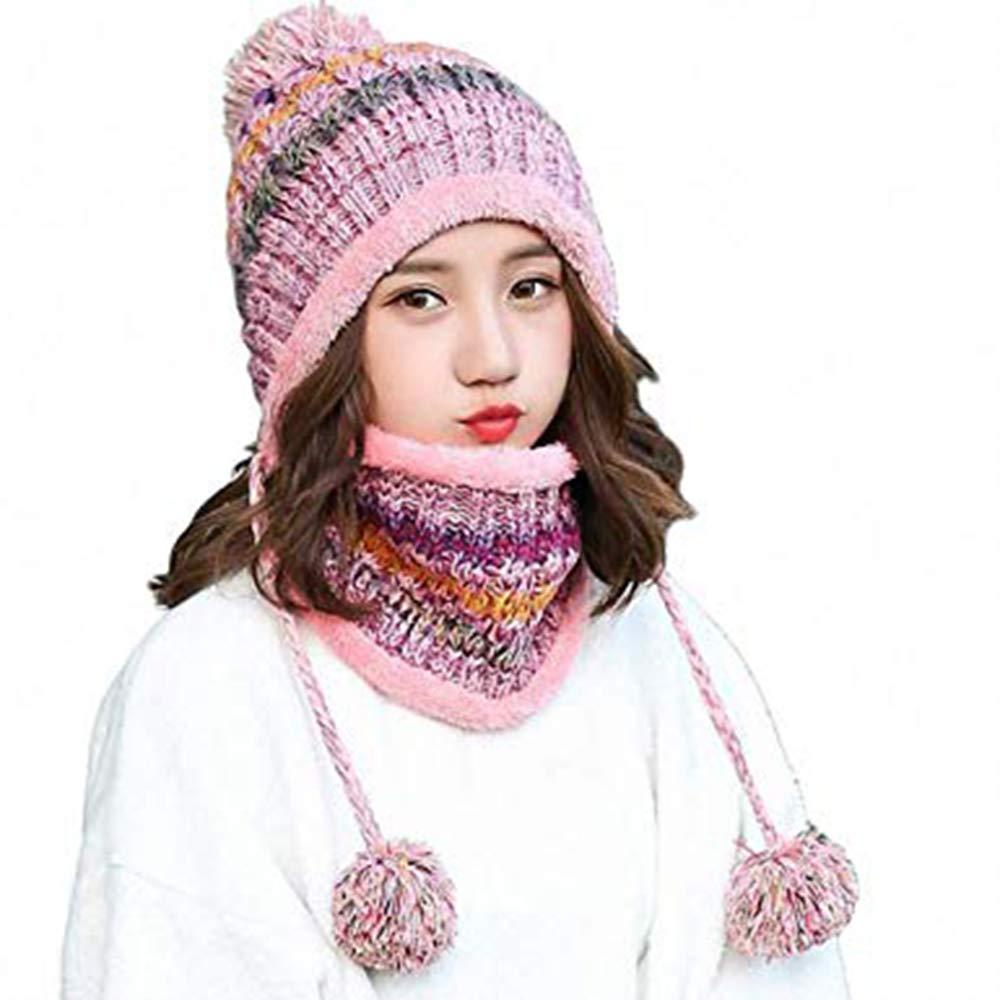 6ae36291ad7 Women Knitted Hat Scarf Set Girls Women Gift Winter Warm Thicken Crochet  Bobble Pom Pom Beanie