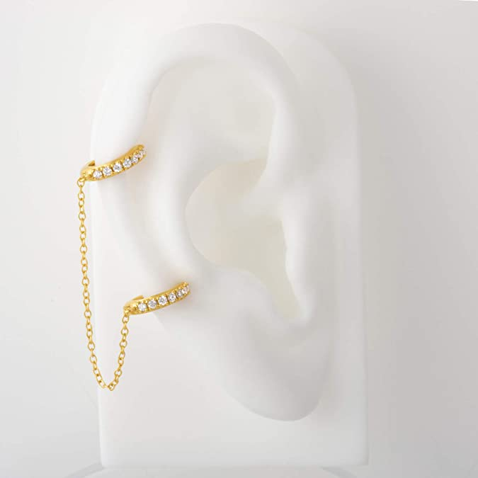 Earrings for One Ear Sterling Silver 18K Yellow Gold Plated Polished Chained Double Huggies Fashion Earrings for Women