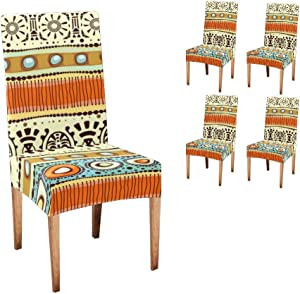XIUCOO Custom Stretch Chair Covers Protector Tribal Ethnic Chair CoverComfort Soft Seat Covers Slipcovers for Dining Room Party (Set of 4)