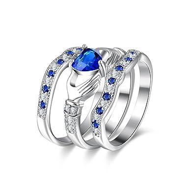 Schmuck & Zubehör Verlobungsringe Großen Blauen Cz Zirkon Stein Vintage Silber Ringe Für Frauen Mode Hochzeit Engagement Schmuck Ring Größe 5 6 7 8 9 10 11 12
