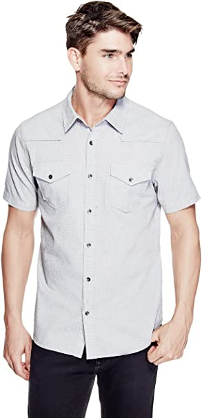GUESS Hombre M71H69W8FO0 Camisa con botones - Gris - Medium ...