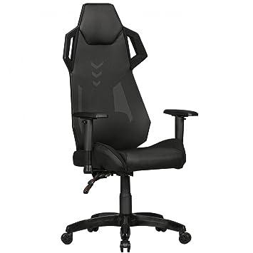 GamePad - Gaming cuero sintético Presidente / malla en negro | silla de escritorio en simil piel ...