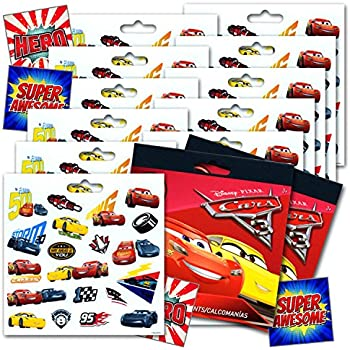 Disney cars 3 movie cars stickers party favors bundle of 12 sheets 240 stickers