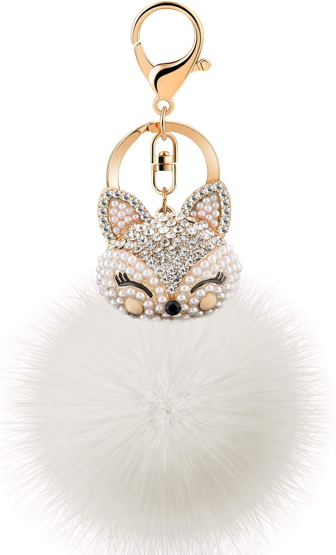 JOUDOO Rabbit Ball Keychain with Rhinestone Fox Head Keyring GJ-001 (White 2)