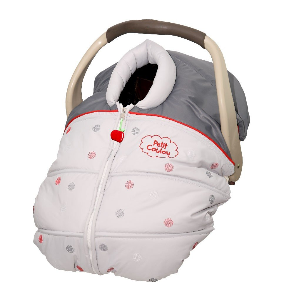 Petit Coulou 3-seasons grey car seat cover with red dots: keep baby safe and happy: less handling = happier baby and Mommy and don't hinder your child's safety in the car seat: nothing between baby and harnesses.: Amazon.ca: Bébés