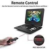 "Whew 13.9"" Portable DVD Player for Kids Car Travel, 10.1"" Swivel Display Screen, 5 Hour Rechargeable Battery, Car Charger, Earphone Jack for CD/DVD Region Free"