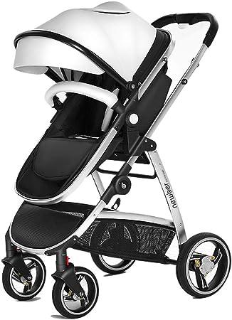 Opinión sobre baby stroller Cochecito Ligero, cesto para Dormir 38 cm más Grande, Plegable Simple, amortiguación Tridimensional, toldo Ancho de Cuero, cesto para Dormir Reversible