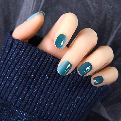 Wjpiaalo False Nails Simple Gradient Blue Square Short Pure Color Summer Nails Tips Navy Fake Nails Full Cover Press On Nails Amazon Co Uk Beauty