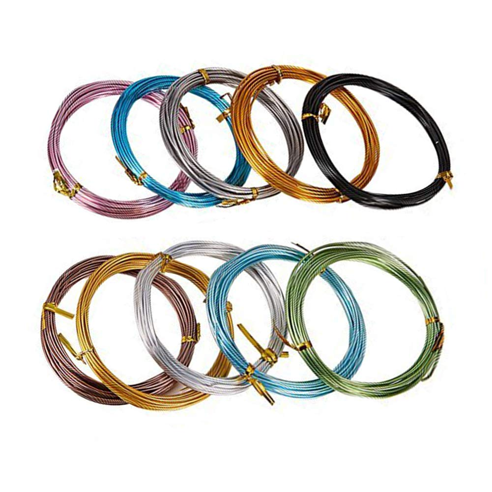 JEWELEADER 10 Colors 190 Feet Aluminum Wire 15 18 20 Gauge Bendable Metal Craft Wire Flexible Sculpting Beading Wire for DIY Wrapped Jewelry Manual Arts Making Rainbow Projects