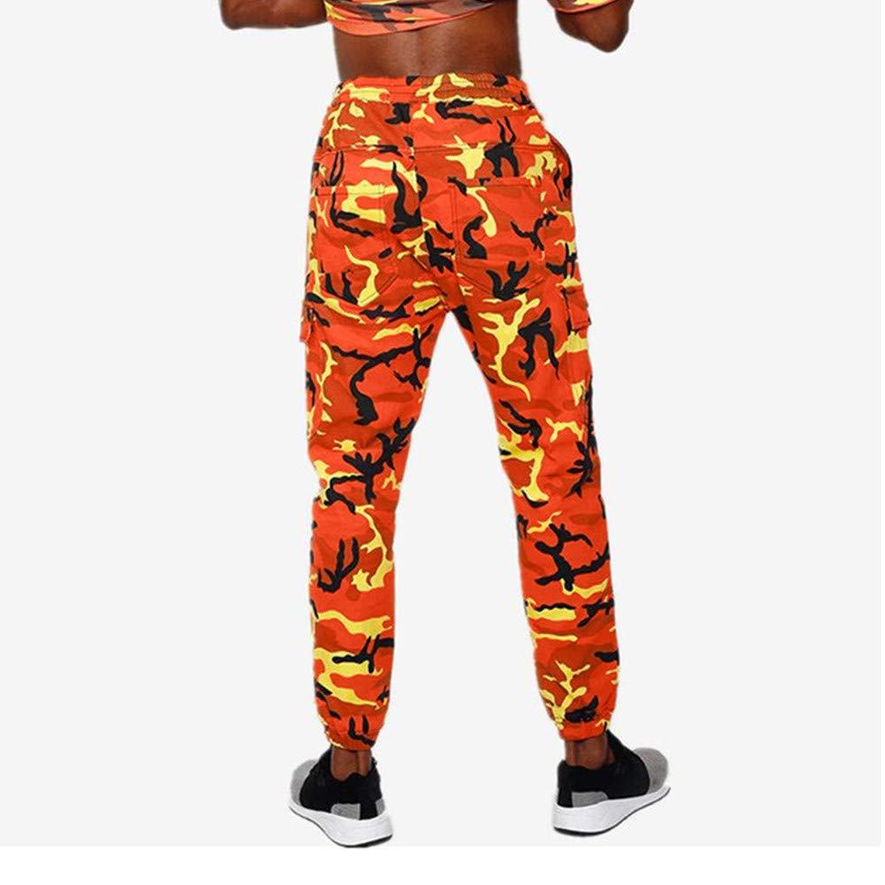 Hombre pantalones de flores largo chandals,Pantalones de hombre deportivos multicolor camuflaje estampado cintura elástica casual deportes para hombre al ...