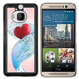 KLONGSHOP // Cubierta de piel con cierre a presión Shell trasero duro de goma Protección Caso - Corazón del amor del Agua - HTC One M9Plus M9+ M9 Plus //