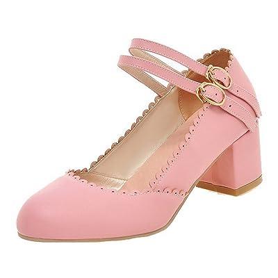 AgooLar Femme à Talon Correct Bouton Double Rang Rond Chaussures Légeres, Rose, 42
